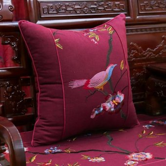 Chinese bird and flower embroidery pillow cushion mahogany wood sofa cushion seat backrest pillow chip-lumbar pillow 50x50cm Hood pillow Chipset - intl