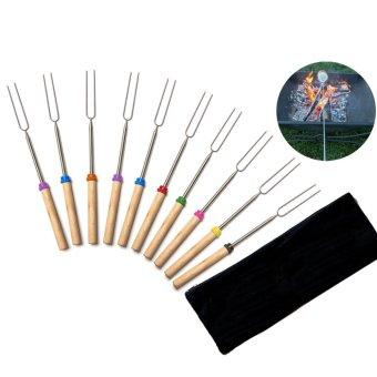 Camping Campfire Premium Roasting Sticks Telescoping BBQ Skewers(10 Pcs)
