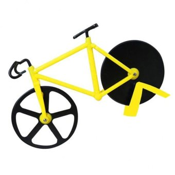 BolehDeals Bicycle Pizza Cutter Dual Stainless Steel Non-Stick Wheels Slicer Yellow - intl