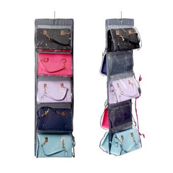 10 Pocket Large Clear Purse Handbag Hanging Storage Organizer Closet Grey - intl