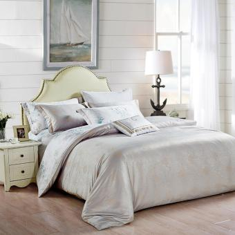 White Bedding Set Luxury Jacquard Satin Duvet Cover Sets Two Size 4pcs Silk Bedclothes Bed Linen Cotton - intl