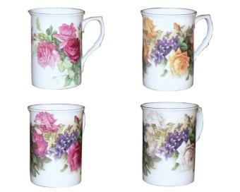 Gracie Bone China Classic English Garden Rose 300ml Mug with Gold Trim, Assorted Set of 4 - intl