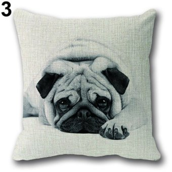 Sanwood Pug Ride Letter Cotton Linen Square Throw Pillow Case Home Decor Cushion Cover 3 - intl