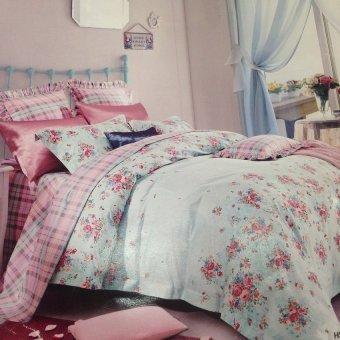 Dewi Bedcover Blossom - Pink Cyan