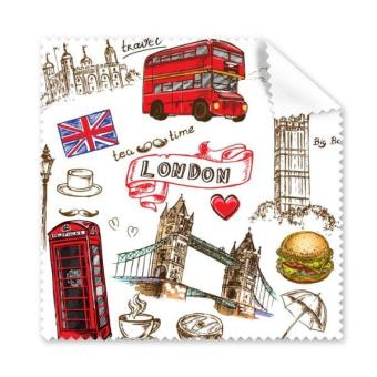 Love Heart Tower Bus Car UK Hamburger England Landmark Flag Mark Illustration Pattern Glasses Cloth Cleaning Cloth Phone Screen Cleaner 5pcs - intl