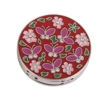 Round Flower Folding Bag Handbag Purse Table Hook Hanger Holder Gift- (Red)