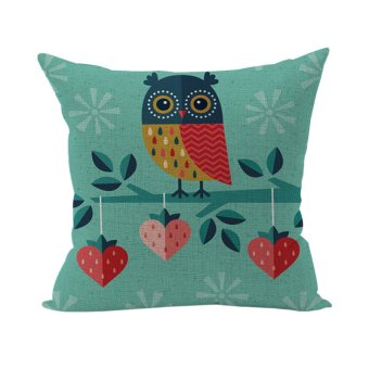 Nunubee Colorful Pattern Cotton Linen Home Square Pillow Decor Throw Pillow Case Sofa Cushion Cover Owl