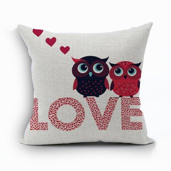 Yazilind owl&letter pattern decorative pillowcase room sofa home 45*45CM/17.55*17.55 inch