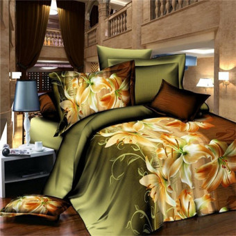 3D Lily Double Size Bedding Sheet Pillowcase Set Printed Duvet Cover