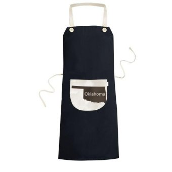Oklahoma The United States Of America USA Map Silhouette Cooking Kitchen Black Bib Aprons With Pocket for Women Men Chef Gifts - intl