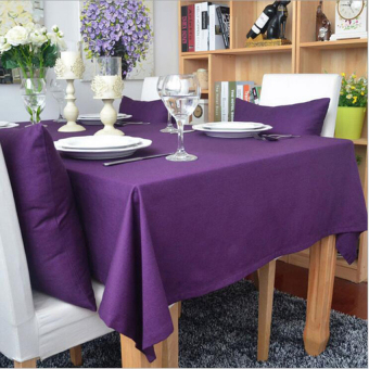FRD 140Cm*140Cm 1-Piece Cotton Solid Color Purple Table Clothrectangletablecloth For Dining Table Thick Table Cover Customizable - intl