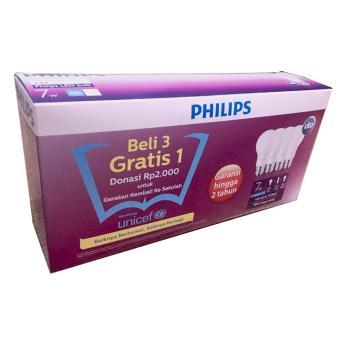 Philips Lampu LED Bulb 7W 600 Lumen - Beli 3 Gratis 1 (Unicef Edition) - Cool Daylight (Putih)