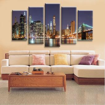 Harga Kualitas tinggi 5 panel dekorasi rumah dinding seni lukisan sidik jari dari Manhattan Brooklyn Bridge