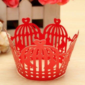Pembungkus Cupcake membungkus kue kasus pesta pernikahan ulang tahun Shower bayi merah - Internasional