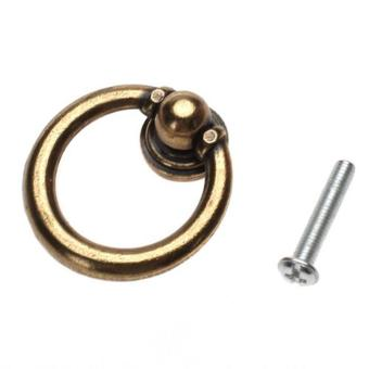 fuskm Single Hole Pull Furniture Hardware Ring Drawer Door Pull Knob (Brassy,Set of 10Pcs)