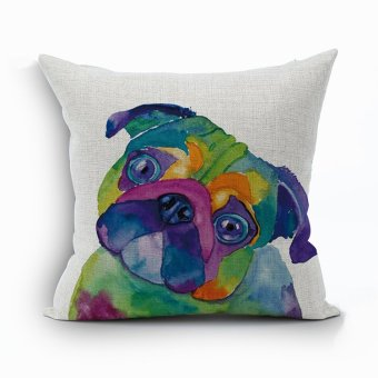 Yazilind Cute dog pattern decorative Multicolor pillowcase room sofa home 45*45CM/17.55*17.55 inch