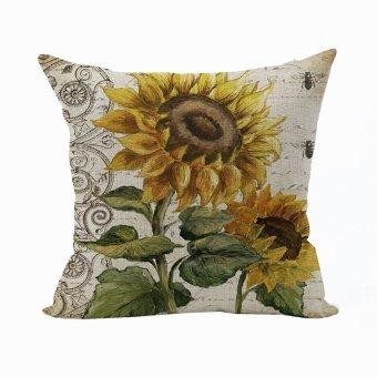 Nunubee Vintage Soft Decorative Cushion Cover Square Cotton Pillowcase Home Living Room Cushion Yellow 1