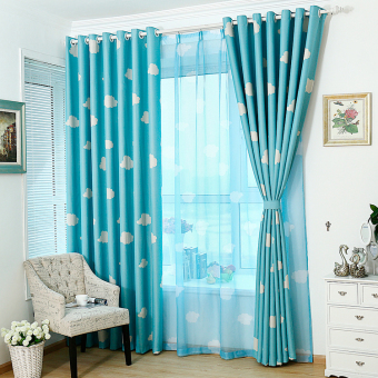 Harga 100 cm X 250 cm Pola Awan Tirai Tipis Jendela Layar Kelambu Kain Pual Biru