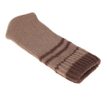 8PCS Practical Knitting Wool Furniture Leg Cover Brown Floor Protector - intl