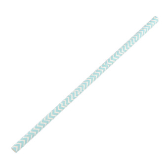 OEM 25 Pieces Blue V-shaped Groove Striped Paper Drinking Straws