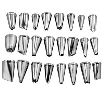 nonvoful 24pcs Stainless Steel Cupcake Cake Puff Decorating Icing Nozzles Piping Sugarcraft Pastry Tips Tool Set
