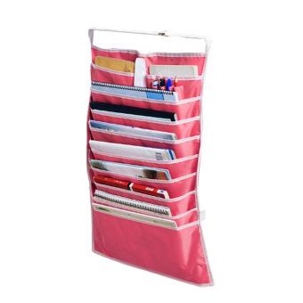 Home Office School Multi-layer Desk Organizer Desk Hanging Bag Stationery Bag Book Storage Bag (Red)