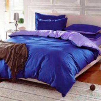 Alona Ellenov Sprei + Bedcover Polos Biru Tua Ungu Extra King 200x200x25cm- Biru