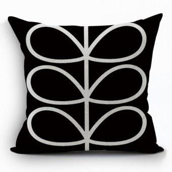 Yazilind sample leaves pattern decorative balck pillowcase room sofa home 45*45CM/17.55*17.55 inch