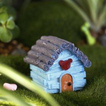 Cute Miniature House Fairy Garden Micro Landscape Home Decoration Resin Blue - intl