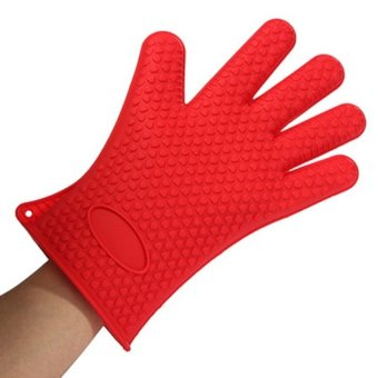 HL Silicone Glove Oven Holder Bbq Mitts Red