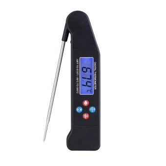kobwa Cooking Voice Thermometer Folding Probe Digital Instant Read Meat Thermometer BBQ Grilling Oven Thermometer,Black - intl