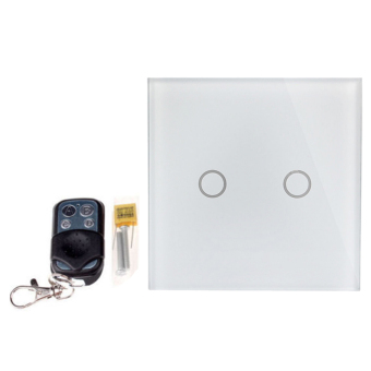 BolehDeals 2 Way LED Crystal Glass Panel Light Touch Screen Remote Wall Switch White - intl