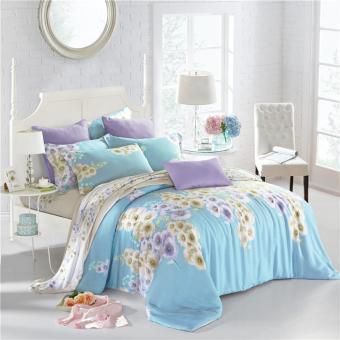 Wholesale/Retail Garden Wild flowers pattern bedspread sets high density multi size soft feeling hight quality white tencel bedding sets - intl