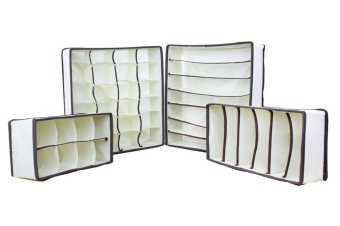 kobwa Drawer Dividers Closet Organizers Bra Underwear Storage Boxes (Off White,Set Of 4) - intl