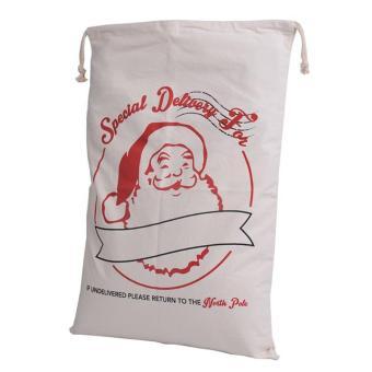 LALANG Christmas Gift Bag Canvas Drawstring Bag Decoration 70x50cm 3# (Beige) - intl