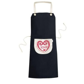 Valentine's Day Cute Pink Heart Shaped Love Illustration Pattern Cooking Kitchen Black Bib Aprons With Pocket for Women Men Chef Gifts - intl