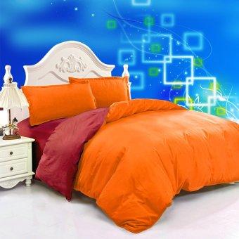 Jaxine Bedcover Katun Prada Polos Marun Orange