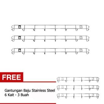 Harga Universal Gantungan Baju Stainless Steel 8 Kait - 3 Buah + Get 1 Free Gantungan