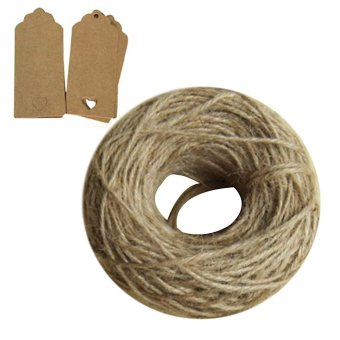 100 PCS DIY Rectangle Shape with Hollow Love Heart Hang Tag Wedding Brown Kraft Paper Gift Tag Lolly Bag Bonbonniere Favor Gift Tags + 1 Roll of 30M Natural Twine Cord Jute Hemp Rope Cable String
