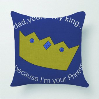 Cartoon Imperial Crown Pillow Case (Blue)