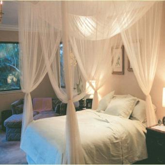 Poliester ranjang kelambu kanopi jaring tempat tidur queen 4 pos sudut kelambu putih