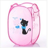 Folding Large Size Cartoon Receive Basket -Pink Cat