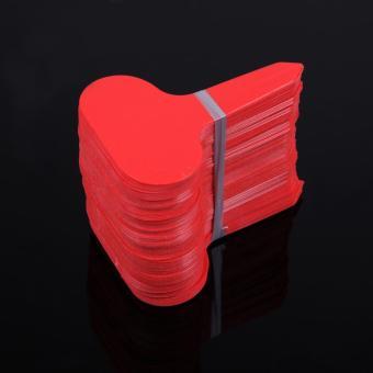 100 Buah T-Jenis Label Tanaman Pembibitan Taman Bunga Plastik Tebal Tanda Label Merah
