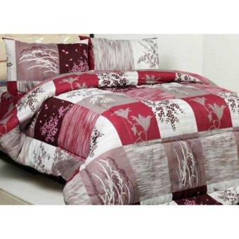 Alona Ellenov Bunga Padi Maroon Bed Cover Set 120 x 200 x 20 cm - peach