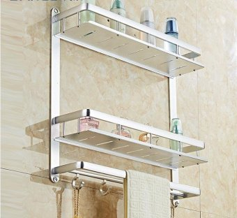 towel rack Free punch toilet Towel rack bathroom space aluminum simple Towel rack bathroom toilet toilet wall-mounted storage rack,B - intl