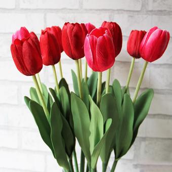 Harga Bluelans Getah Nyata Menyentuh Sutra Buatan Bunga Tulip Buket Bunga Dekorasi Pernikahan Rumah Merah
