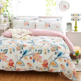 Bed Sheet Set- 4 Piece Bed Sheets and Pillow Set Cotton Sheets Thickened Sheets Double Bed Sheets intl