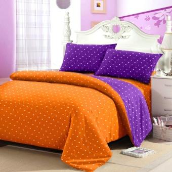 Jaxine Sprei Tinggi 25cm Motif Polkadot Warna Oranye Purple