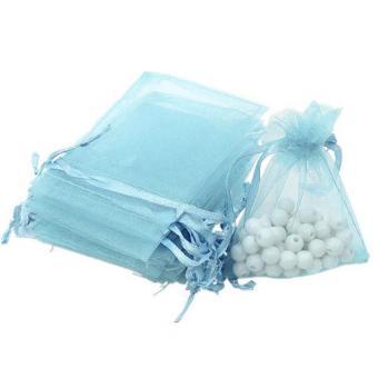 BolehDeals 100pcs Organza Gift Jewellery Bags Pouches Wedding Favours Light Blue - intl