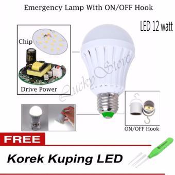 Harga LED Bohlam - Lampu LED Emergency 12 Watt - Hook On/Off + Free